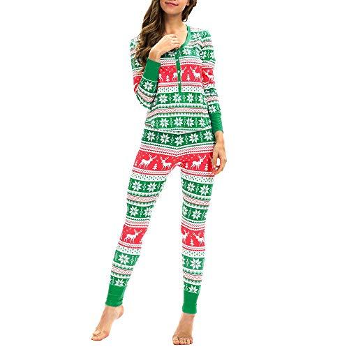 WHSHINE Damen Jumpsuit Pyjama Frauen Winter Warm Langarm Jumpsuit 3D Weihnachten Elch Drucken Jumpsuit Overall (Grün) - 2
