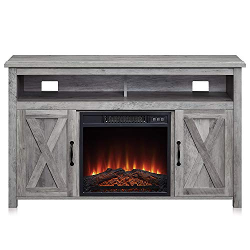 """BELLEZE 014-HG-41008-HT-GYW 48"""" Corin Stand Console Electric Fireplace with Remote Control for TV"""