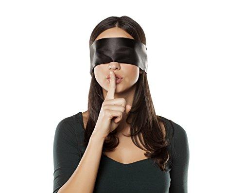 MySecretPleasure Original Satin Augenbinde mit diskretem Beutel - blickdichte hochwertige SM Fetisch Augenmaske in Schwarz/Rot Spielzeug für Paare - 150 cm lang