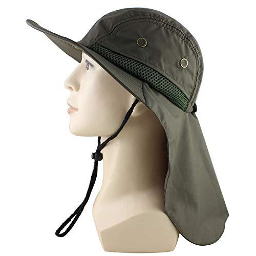Chapeau de Seau à Large Bord Respirant et Pliable Hat Chapeau de Soleil pour l'extérieur, Bonnet de pêcheur Respirant pour Hommes et Femmes, châle, 6 Couleurs, 100% Polyester, Vert armée