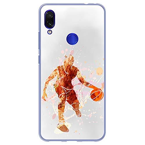 BJJ SHOP Funda Transparente para [ Xiaomi Redmi Note 7 ], Carcasa de Silicona Flexible TPU, diseño : Jugador de Baloncesto Watercolor Naranja