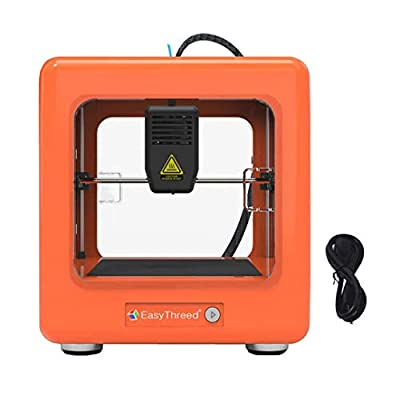 HUKOER Mini 3D Printer,Portable Fully Assembled 3D Printer with Slicing Software 90 * 110 * 110mm,One Key Printing for Household Education & DIY Children Gifts(with CE)(Orange)