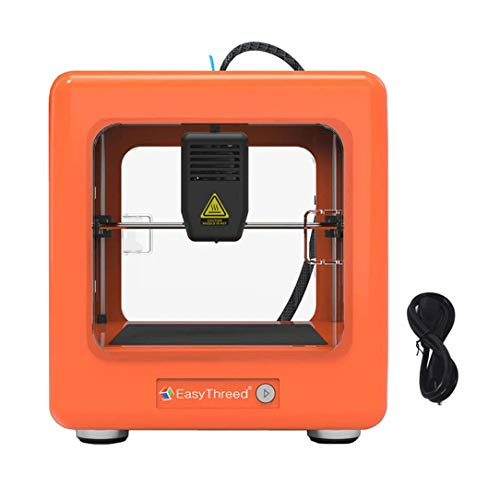 TOPQSC Mini 3D Printer Portable Fully Assembled Mini 3D Printer with Slicing Software 90 * 110 * 110mm Printing Size One Key Printing, Mini Desktop 3D Printer DIY Kit (Orange)