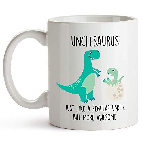 Taza Unclesaurus, divertida taza de tío de sobrina y sobrino (blanco)