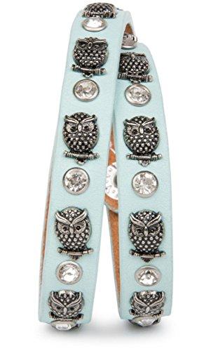 styleBREAKER Wickelarmband mit Eulen Nieten und Strass mit echtem Leder, Nietenarmband, Damen 05040019, Farbe:Hellblau