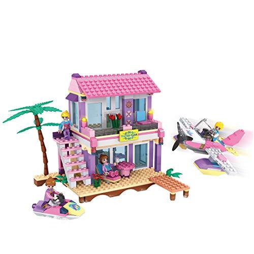 ColiCor Juego de construcción de villa de playa para niñas, 423 piezas de bloques de construcción de partículas pequeñas para niños y adlutas, compatible con Lego