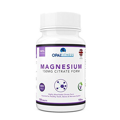 Magnesiumcitrat-Tabletten 150mg |120 Tabletten | Hohe Absorptionsformel | von Opal Fitness
