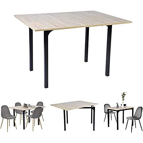 MEUBLE COSY Table de Salle à Manger Mesa de Comedor Extensible Escritorio informática Rectangular Consola Entrada de Roble, Tablero DM, 60-120x90x75-77cm