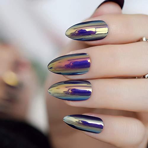 CoolNail Metallic Mirror Bright Chrome False Stilettos Nail Metal Oval Almond Sharp Fake Nails Manicure Full Nails Art Tips