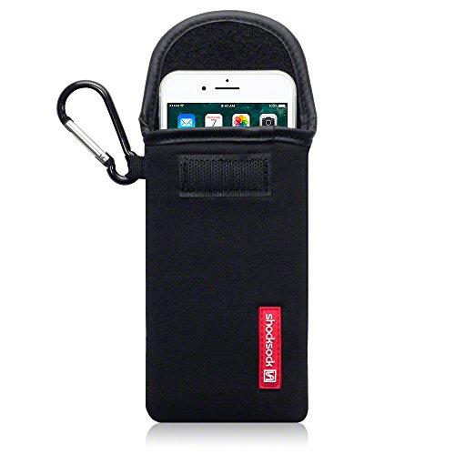 Shocksock, Kompatibel mit iPhone 8 / iPhone 7 Neopren Tasche mit Carabiner Hülle - Schwarz EINWEG