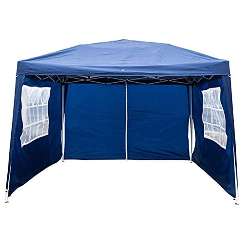 KUAIE Canopy Pergola, práctico ángulo de Derecho Impermeable al Aire Libre portátil, Adecuado para el Pueblo al Aire Libre, Tela Oxford Tubo de Hierro asperjado Dos Ventanas Dos Puertas, 3x3m Azul