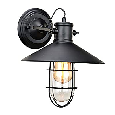 Black Industrial Wall Sconce Lighting, Adjustable Vintage Farmhouse Wall Light Fixture Black Cage Clear Glass Shade, Indoor Rustic Wall Lamp for Headboard Bedroom Garage Porch Hallway Mirror