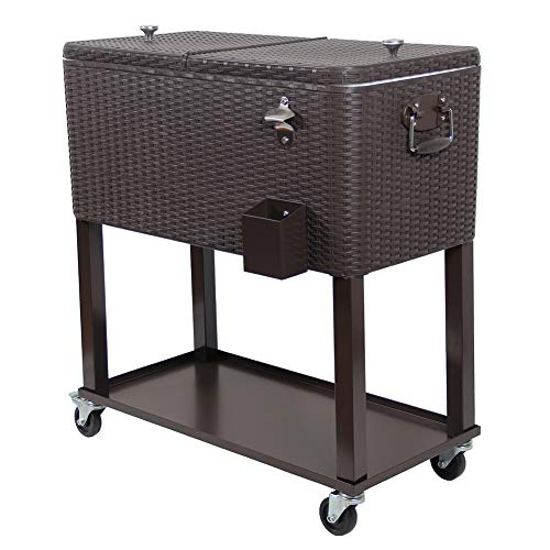 UPHA 80 Quart Rolling Outdoor Patio Cooler Cart on Wheels, Wicker Pattern Portable Drink Beverage Bar for Patio Pool Party, Ice Chest with Shelf and Bottle Opener, Brown