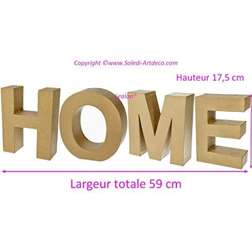 Decoratie Home van papier maché, afmetingen: 59 x 17,5 x 5,5 cm, 3D-letters voor het personaliseren