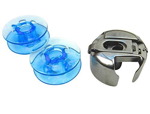 ZickZackNaehmaschine Bobina Cápsula + 2Azules plástico Bobinas para Pfaff Tipmatic–Máquina de Coser