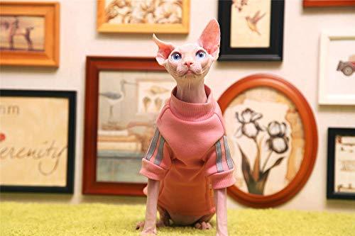 TENGTUD Haarlose Katzenkleidung, Sphynx/Devon Cat Herbst und Winter Dickes rosa Hemd-S.