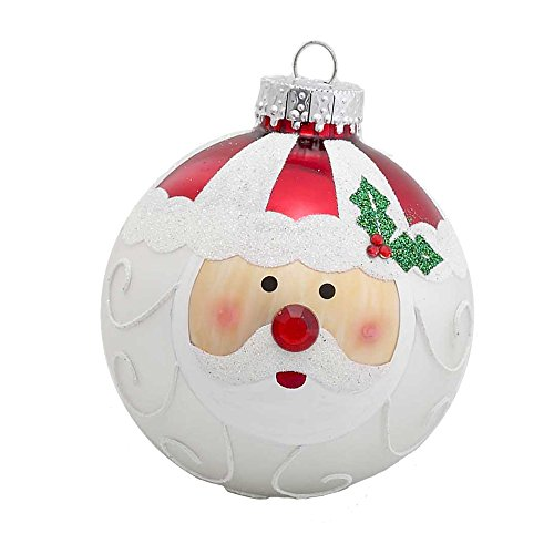 Kurt Adler Santa Face Glass Ball Ornament, 80mm, Set of 4