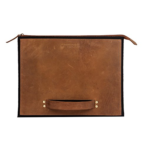 Zipper 13-13.3 inch Leather & Felt Laptop Sleeve | case | Cover with Front Pocket | Compartment Compatible with Apple MacBook Air | pro Handmade for Men Women - Black & Tan (Black and Tan)