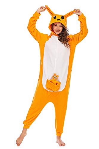BGOKTA Disfraces de Cosplay para Adultos Pijamas de Animales One Piece Canguro, L