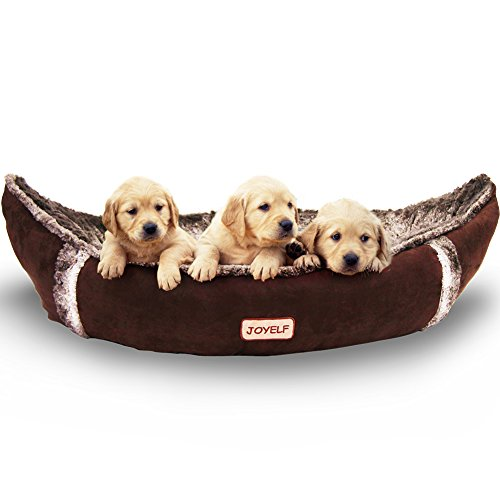 JOYELF Dog Bed with Washable Cover Pirate Ship Plush Soft Dog Bed for Small to Medium Dogs and Squeaker Toys as Gift