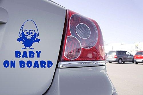 Zone-Stickers Sticker Baby on Board Calimero - 10cm x 10cm, Bleu