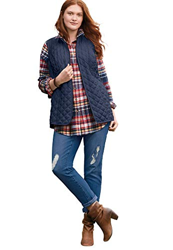 Woman Within Women's Plus Size Zip-Front Quilted Vest - M, Navy