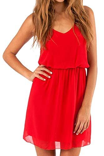 Cassiecy Damen Sommerkleid Ärmellos V-Ausschnitt Chiffon Casual doppel Schulterrieme Elegant Minikleid Partykleid (Rot XL)
