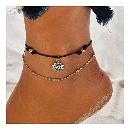 Simplemente tobilleras de girasol Pulseras de tobillo doble con cuentas de plata Accesorios de joyería para pies de playa ajustables para mujeres y niñas
