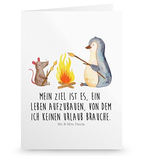 Mr. & Mrs. Panda Geburtstagskarte, Einladungskarte, Grußkarte Pinguin Lagerfeuer mit Spruch - Farbe Weiß