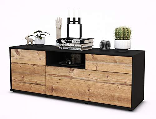 TV Schrank Lowboard Anita, Korpus in anthrazit matt / Front im Holz Design Pinie (135x49x35cm), mit Push to Open Technik und hochwertigen Leichtlaufschienen, Made in Germany