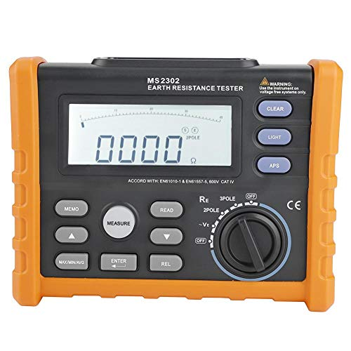 Digital Tester Earth Resistance Meter Insulation MS2302 100 Groups Data Logging for Motor Cables Switches with Data Hold Backlit