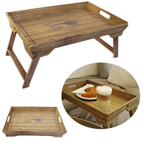 LS-LebenStil Vintage Frühstückstablett Bett Tisch Tablett Serviertablett Holz klappbar