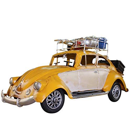NOBRAND Escarabajo clásico con Equipaje Modelo estático Hoja de Hierro artesanía Retro Coche clásico