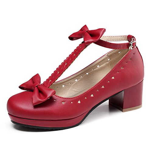 Getmorebeauty Zapatos de mujer Vintage Sweet T-Straps Bows Mary Janes Date, color...