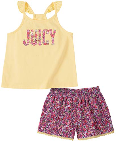 Juicy Couture Girls' 2 Pieces Shorts Set, Yellow/Print, 8/10