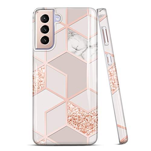 JAHOLAN Galaxy S21 Hülle Handyhülle TPU Silikon Weiche Schlank Schutzhülle Handytasche Flexibel Hülle Handy Hülle für Samsung Galaxy S21 - Marmor Glitter Sparkle Rose Gold