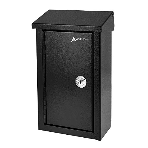 AdirOffice Outdoor Large Key Drop Box - Commercial Grade Heavy-Duty Storage Box - Safe & Secure Parcel & Packages - for Home & Business Use (Black)