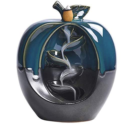 NanXi Remanso Quemador de Incienso, cerámica Cascada remanso Quemador de Incienso con 10 remanso Incienso Conos Inicio remanso Quemador de Incienso Titular