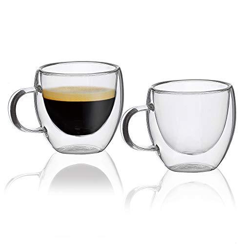 MONDAEN. Elegante Espressotassen - doppelwandig aus hochwertigem Borosilikat-Glas - 2er Set Thermo-isoliert für ausgiebigen Espressogenuss – mundgeblasen 80 ml (Espressotasse)