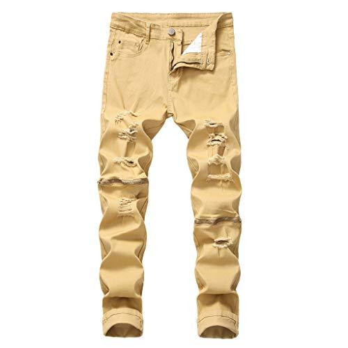 Uomo Jeans Aderenti Strappati Skinny Fit Biker Destroyed Registrato Pantalone