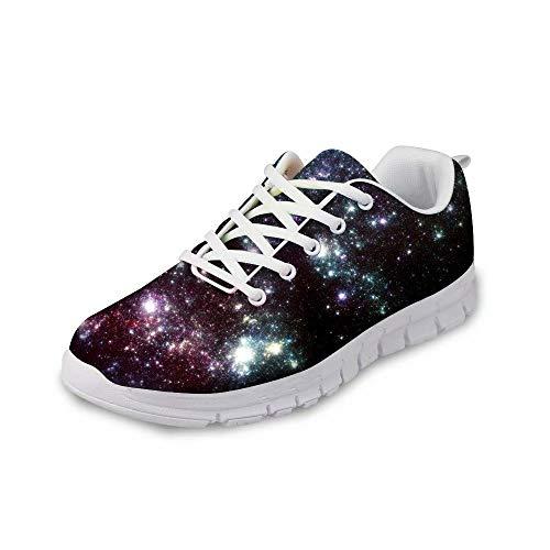 MODEGA Galaxie-Druck-Schuhe bunt schillernden Schuhturnschuh Schnürsenkel heiße Schokolade Design Schuhfrauen Plus Größe Bowling-Schuhe für Männer Schuhe Männer Schwarze be Größe 40 EU|6 UK