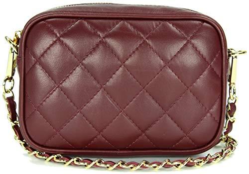 Belli italienische Echt Nappa Leder Abendtasche Damentasche kleine Umhängetasche zum Ausgehen gesteppt in bordeaux bordó - 18x13x7 cm (B x H x T)