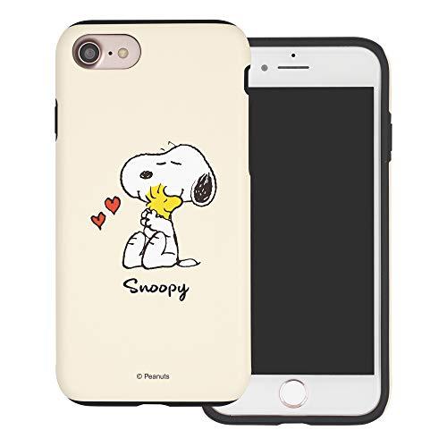 iPhone 8 Plus ケース/iPhone 7 Plus ケース と互換性があります Peanuts Snoopy ピーナッツ スヌーピー ダブル バンパー ケース デュアルレイヤー 【 アイフォン8プラス / アイフォン7プラス 】 (スヌーピー