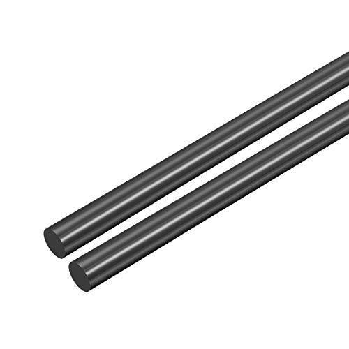 sourcing map 2Stk. Kunststoff-Rundstab, POM-Stab, 5 mm Durchmesser, schwarz, Rundstab aus technischem Kunststoff