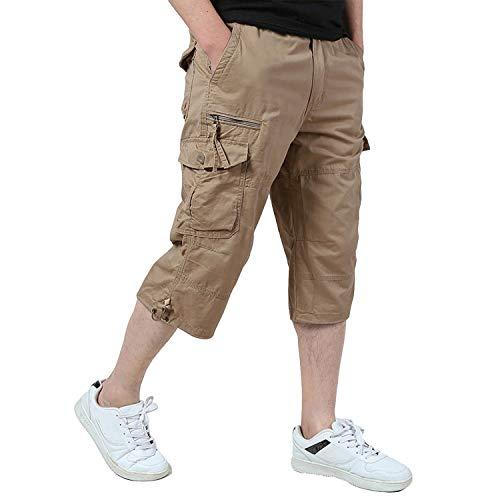 KEFITEVD Hombres Pantalones Cortos Pantalones de Verano Pantalones de Trabajo Pantalones Cortos de Ocio Caqui 32 (Etiqueta: L)