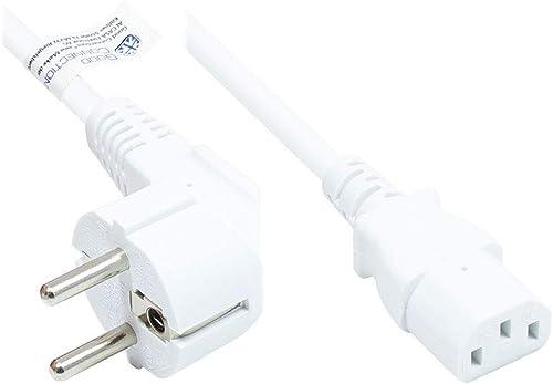 Good Connections P0130-W005 Câble d'alimentation Droit Type E+F CEE 7/7 coudé vers C13 Blanc 0,5 m