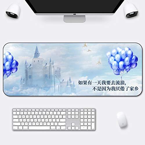 LZDAYK Alfombrilla de ratón XL para juegos 1200x600x3mm Castillo de cuento de hadas globo creativo Base de goma de superficie lisa, tratamiento resistente al agua y al desgaste, tapete de extensión, t