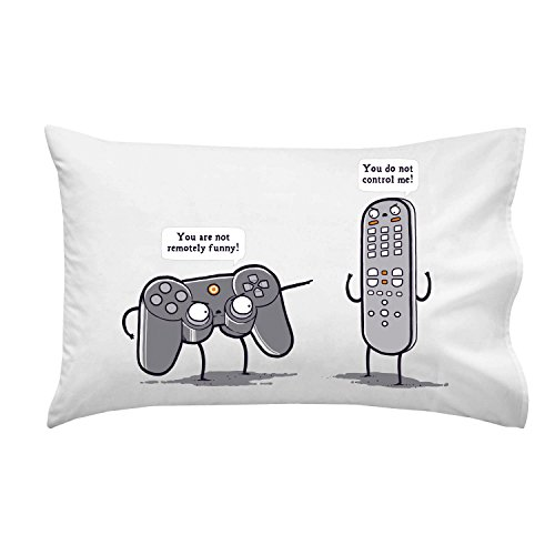 Battle of remote controls pillow case