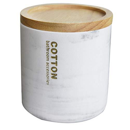 Hogar & Mas wasmand met deksel van kunsthars, marmer, motief. Wattenstaafjes en schijven van katoen, elegant, modern, 10,5 x 9,5 cm