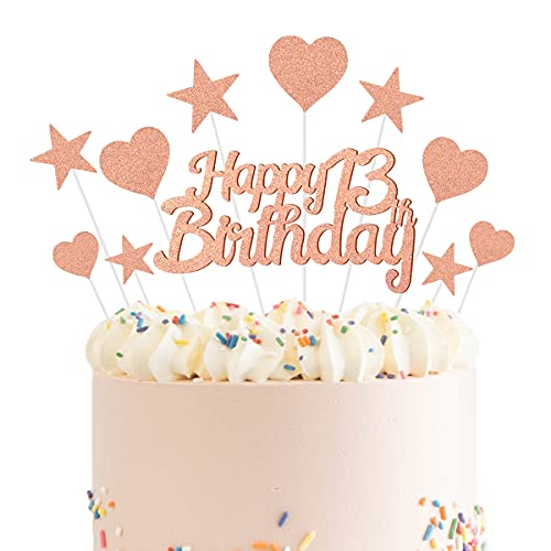 Humairc Decoración para tartas de 13 años de oro rosa para niñas y niños, decoración de cupcakes para decoración de pasteles de oro rosa brillante
